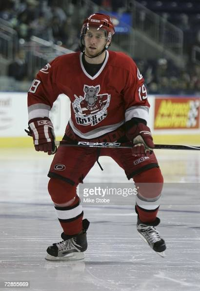 Matt Murley of the Albany River Rats skates against the Bridgeport Sound Tigers at the Arena at Harbor Yard on November 26 2006 in Bridgeport...