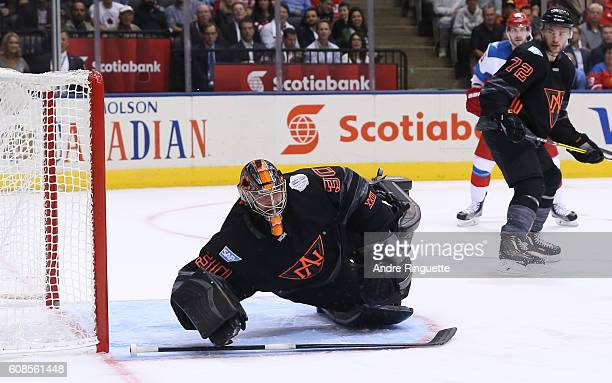 Matt Murray of Team North America dives to block the net against Team Russia during the World Cup of Hockey 2016 at Air Canada Centre on September 19...