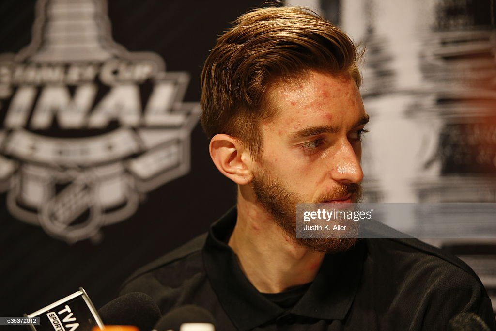 <a gi-track='captionPersonalityLinkClicked' href=/galleries/search?phrase=Matt+Murray+-+Ice+Hockey+Player&family=editorial&specificpeople=15609595 ng-click='$event.stopPropagation()'>Matt Murray</a> #30 of the Pittsburgh Penguins addresses the media during the NHL Stanley Cup Final Media Day at Consol Energy Center on May 29, 2016 in Pittsburgh, Pennsylvania.