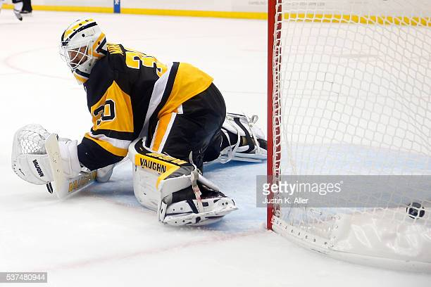Matt Murray of the Pittsburgh Penguins allows a third period goal to Justin Braun of the San Jose Sharks in Game Two of the 2016 NHL Stanley Cup...