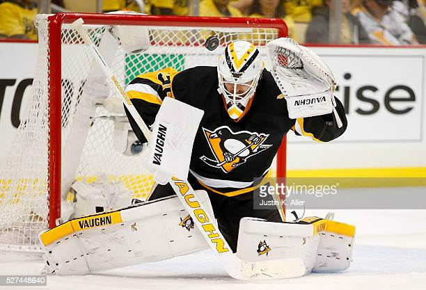 Matt Murray of the Pittsburgh Penguins can't make the save on Alex Ovechkin of the Washington Capitals in Game Three of the Eastern Conference Second...