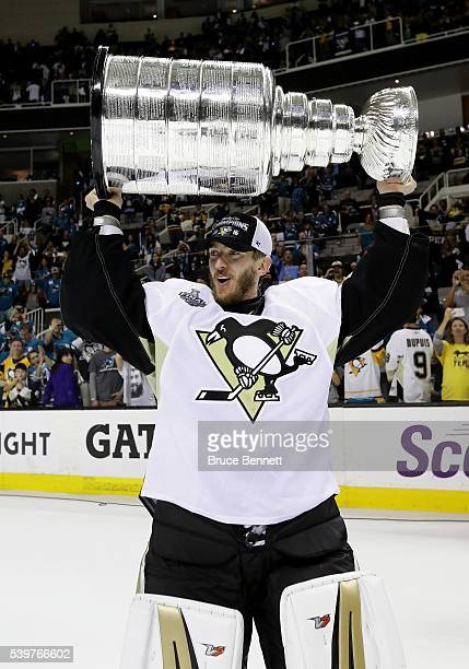 Matt Murray of the Pittsburgh Penguins celebrates with the Stanley Cup after their 31 victory to win the Stanley Cup against the San Jose Sharks in...