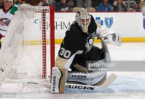 Matt Murray of the Pittsburgh Penguins defends the net against the Columbus Blue Jackets at Consol Energy Center on December 21 2015 in Pittsburgh...