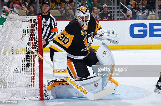 Matt Murray of the Pittsburgh Penguins defends the net against the Carolina Hurricanes at Consol Energy Center on March 17 2016 in Pittsburgh...