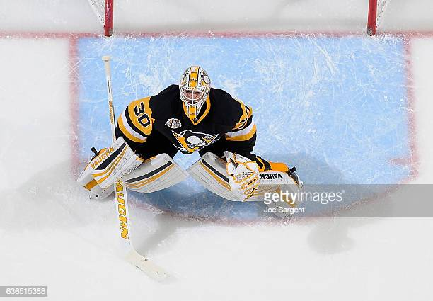 Matt Murray of the Pittsburgh Penguins defends the net against the Los Angeles Kings at PPG Paints Arena on December 16 2016 in Pittsburgh...
