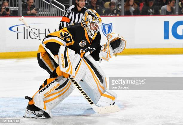 Matt Murray of the Pittsburgh Penguins defends the net against the Tampa Bay Lightning at PPG Paints Arena on March 3 2017 in Pittsburgh Pennsylvania