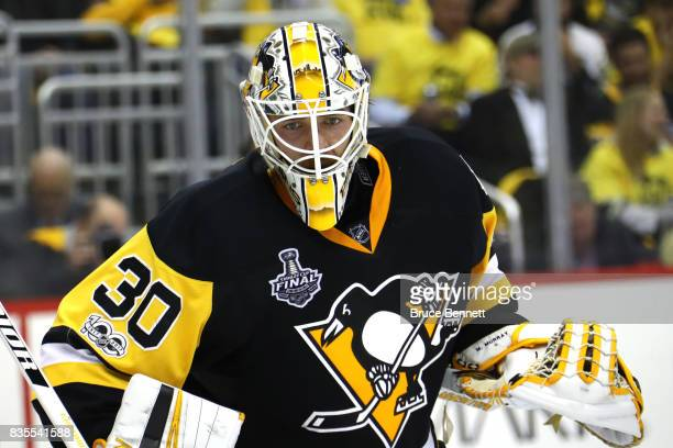 Matt Murray of the Pittsburgh Penguins in action against the Nashville Predators in Game Five of the 2017 NHL Stanley Cup Final at PPG PAINTS Arena...