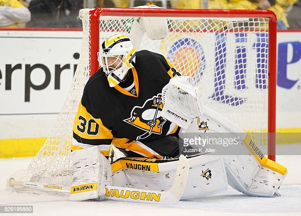 Matt Murray of the Pittsburgh Penguins in action against the New York Rangers in Game Five of the Eastern Conference First Round during the 2016 NHL...