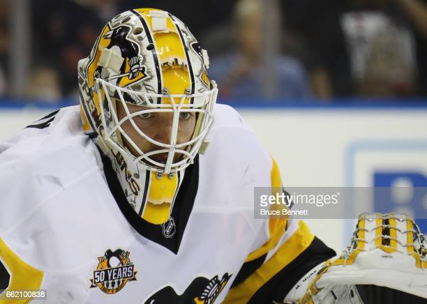 Matt Murray of the Pittsburgh Penguins keeps his eyes on the play against the New York Rangers at Madison Square Garden on March 31 2017 in New York...