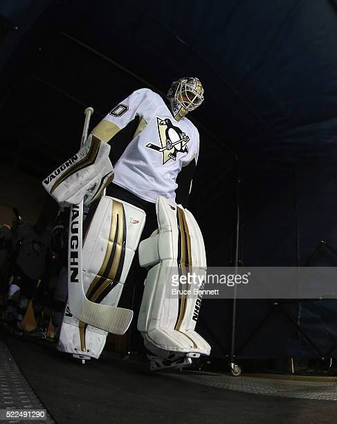 Matt Murray of the Pittsburgh Penguins leads the team out for warmups prior to playing against the New York Rangers in Game Three of the Eastern...