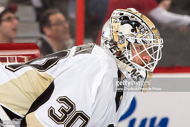 Matt Murray of the Pittsburgh Penguins looks on against the Ottawa Senators at Canadian Tire Centre on April 5 2016 in Ottawa Ontario Canada