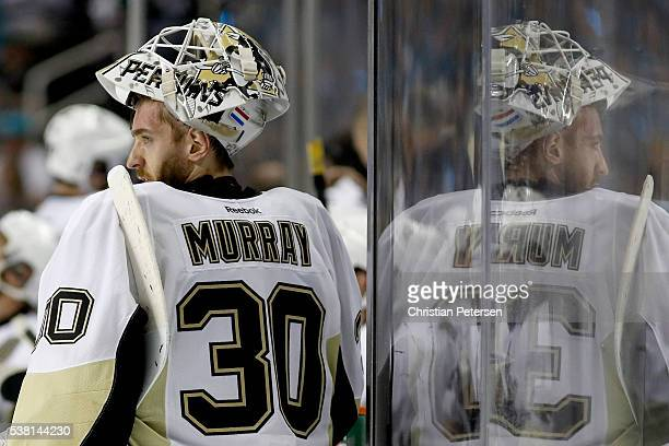Matt Murray of the Pittsburgh Penguins looks on against the San Jose Sharks in Game Three of the 2016 NHL Stanley Cup Final at SAP Center on June 4...