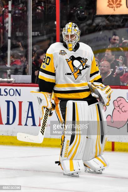Matt Murray of the Pittsburgh Penguins looks on as he skates against the Ottawa Senators in Game Six of the Eastern Conference Final during the 2017...
