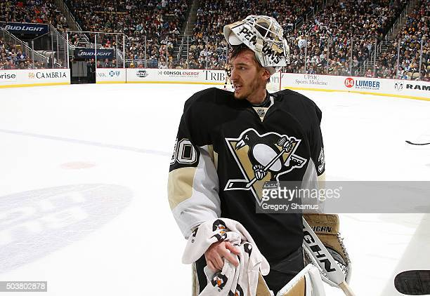 Matt Murray of the Pittsburgh Penguins looks on during a timeout against the Toronto Maple Leafs at Consol Energy Center on December 30 2015 in...
