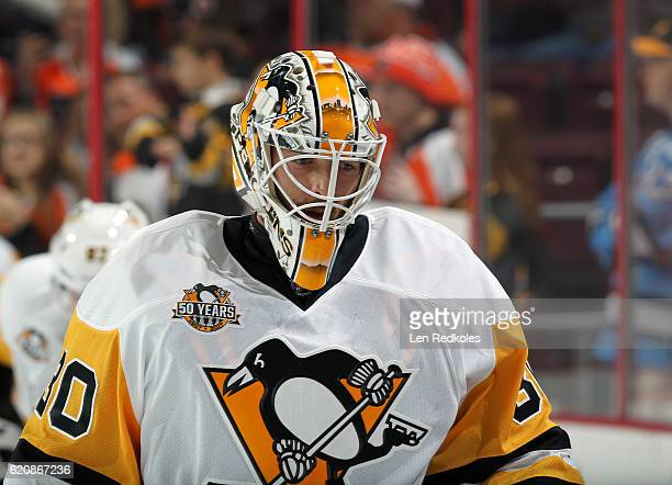 Matt Murray of the Pittsburgh Penguins looks on during warmups prior to his game against the Philadelphia Flyers October 29 2016 at the Wells Fargo...