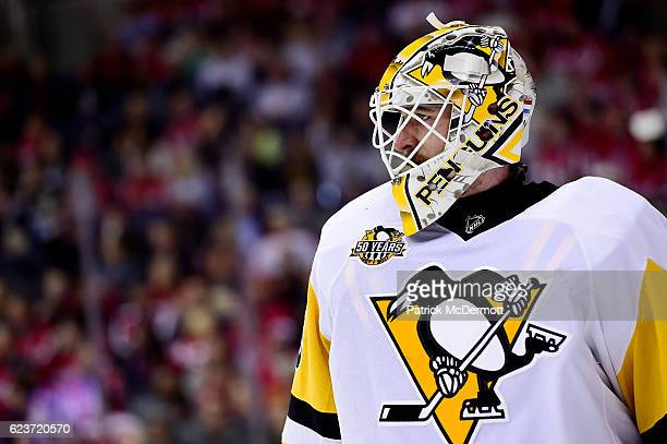Matt Murray of the Pittsburgh Penguins looks on in the first period during a NHL game against the Washington Capitals at Verizon Center on November...