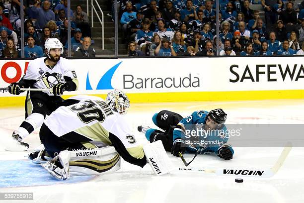 Matt Murray of the Pittsburgh Penguins makes a save against Matt Nieto of the San Jose Sharks in Game Six of the 2016 NHL Stanley Cup Final at SAP...