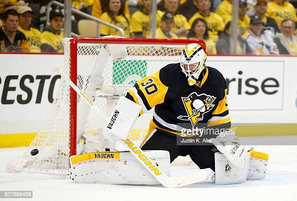 Matt Murray of the Pittsburgh Penguins makes a save against the Washington Capitals in Game Three of the Eastern Conference Second Round during the...