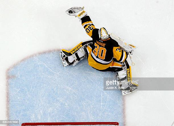 Matt Murray of the Pittsburgh Penguins makes a save against the Washington Capitals in Game Six of the Eastern Conference Second Round during the...