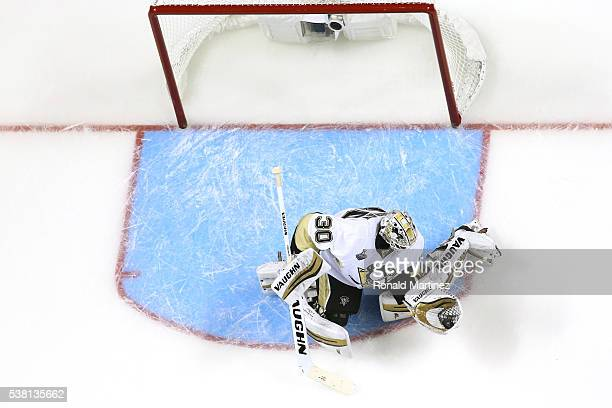 Matt Murray of the Pittsburgh Penguins makes a save against the San Jose Sharks in Game Three of the 2016 NHL Stanley Cup Final at SAP Center on June...