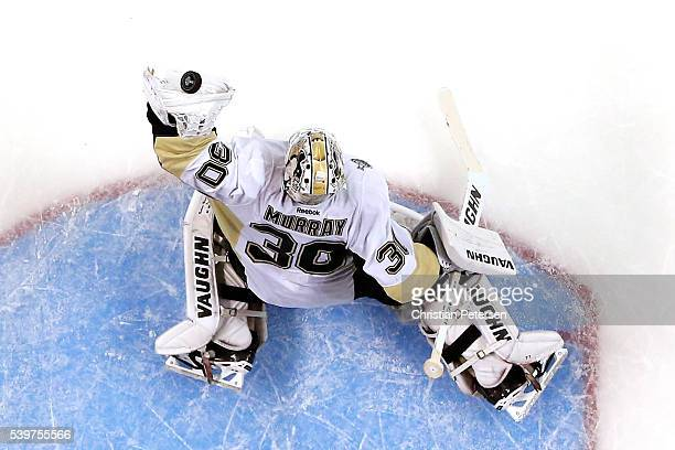 Matt Murray of the Pittsburgh Penguins makes a save against the San Jose Sharks in Game Six of the 2016 NHL Stanley Cup Final at SAP Center on June...