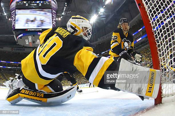 Matt Murray of the Pittsburgh Penguins makes a save against the Tampa Bay Lightning during the second period in Game Two of the Eastern Conference...