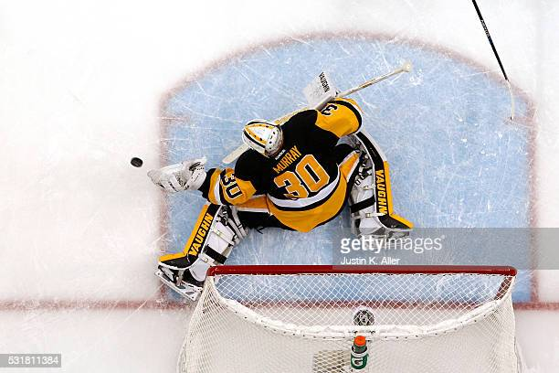 Matt Murray of the Pittsburgh Penguins makes a save against the Tampa Bay Lightning in Game Two of the Eastern Conference Final during the 2016 NHL...