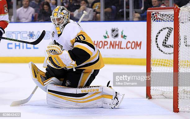 Matt Murray of the Pittsburgh Penguins makes a save during a game against the Florida Panthers at BBT Center on December 8 2016 in Sunrise Florida