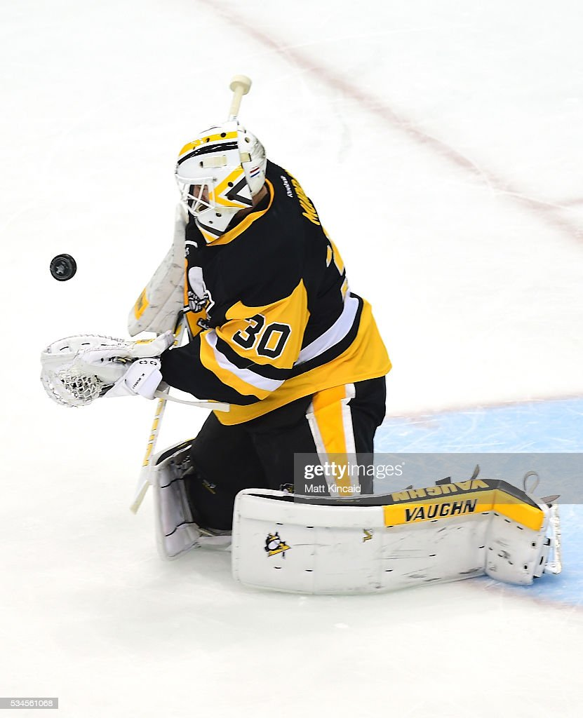 <a gi-track='captionPersonalityLinkClicked' href=/galleries/search?phrase=Matt+Murray+-+Ice+Hockey+Player&family=editorial&specificpeople=15609595 ng-click='$event.stopPropagation()'>Matt Murray</a> #30 of the Pittsburgh Penguins makes a save during the first period against the Tampa Bay Lightning in Game Seven of the Eastern Conference Final during the 2016 NHL Stanley Cup Playoffs at Consol Energy Center on May 26, 2016 in Pittsburgh, Pennsylvania.