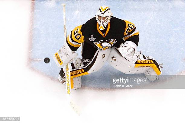 Matt Murray of the Pittsburgh Penguins makes a save during the second period against the San Jose Sharks in Game Two of the 2016 NHL Stanley Cup...