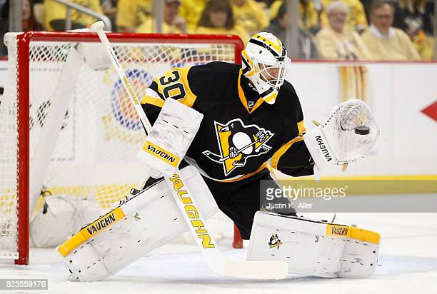 Matt Murray of the Pittsburgh Penguins makes a save in Game Five of the Eastern Conference First Round against the New York Rangers during the 2016...