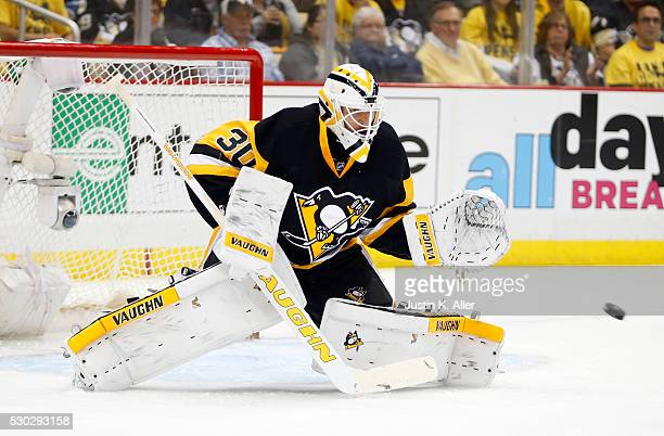 Matt Murray of the Pittsburgh Penguins makes a save in the first period against the Washington Capitals in Game Six of the Eastern Conference Second...