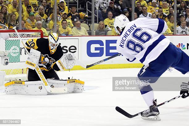 Matt Murray of the Pittsburgh Penguins makes a save in the first period against Nikita Kucherov of the Tampa Bay Lightning in Game One of the Eastern...