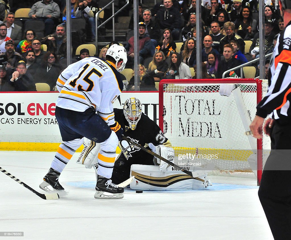 Matt Murray #30 of the Pittsburgh Penguins makes a save on a shot by Jack Eichel #15 of the Buffalo Sabres at Consol Energy Center on March 29, 2016 in Pittsburgh, Pennsylvania.