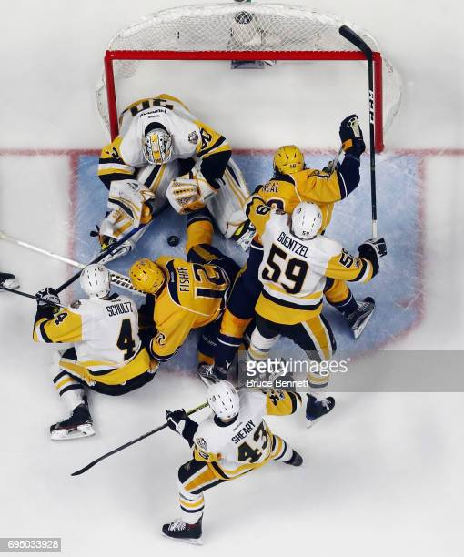Matt Murray of the Pittsburgh Penguins makes the save against the Nashville Predators in Game Six of the 2017 NHL Stanley Cup Final at the...