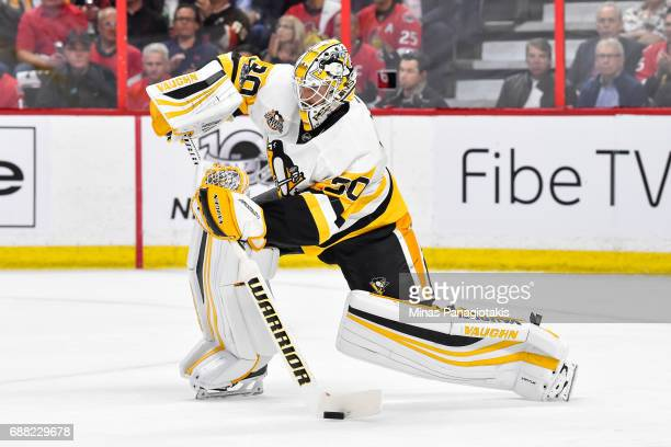 Matt Murray of the Pittsburgh Penguins plays the puck against the Ottawa Senators in Game Six of the Eastern Conference Final during the 2017 NHL...