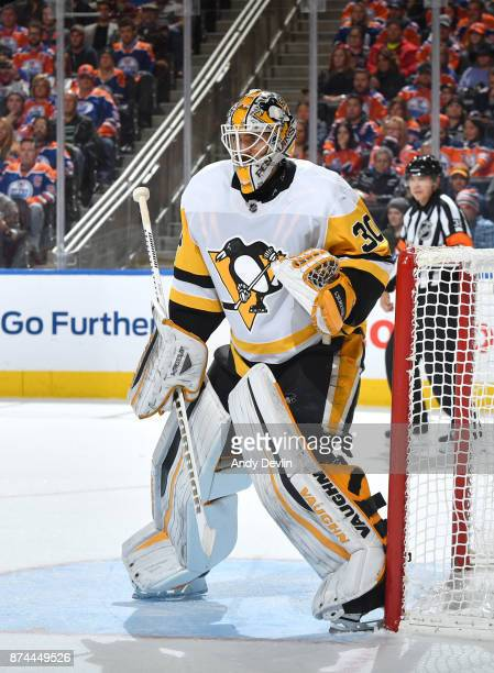 Matt Murray of the Pittsburgh Penguins prepares to make a save during the game against the Edmonton Oilers on November 1 2017 at Rogers Place in...