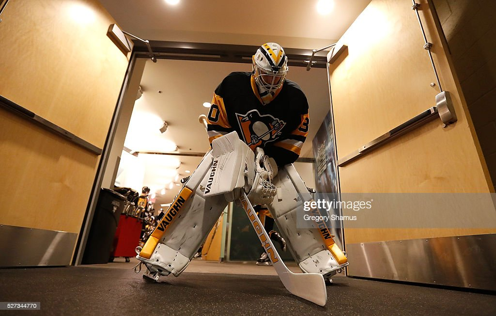 Matt Murray #30 of the Pittsburgh Penguins prepares to take the ice for warmups prior to the game against the Washington Capitals in Game Three of the Eastern Conference Second Round during the 2016 NHL Stanley Cup Playoffs at Consol Energy Center on May 2, 2016 in Pittsburgh, Pennsylvania.