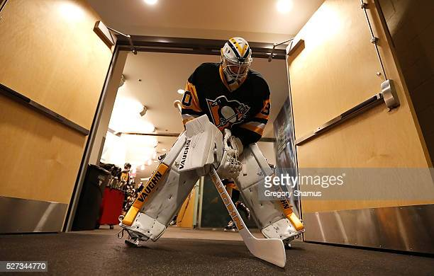 Matt Murray of the Pittsburgh Penguins prepares to take the ice for warmups prior to the game against the Washington Capitals in Game Three of the...