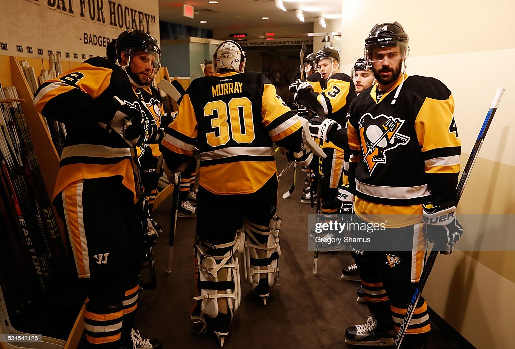 <a gi-track='captionPersonalityLinkClicked' href=/galleries/search?phrase=Matt+Murray+-+Ice+Hockey+Player&family=editorial&specificpeople=15609595 ng-click='$event.stopPropagation()'>Matt Murray</a> #30 of the Pittsburgh Penguins prepares to take the ice prior to Game Seven of the Eastern Conference Final against the Tampa Bay Lightning during the 2016 NHL Stanley Cup Playoffs at Consol Energy Center on May 26, 2016 in Pittsburgh, Pennsylvania.