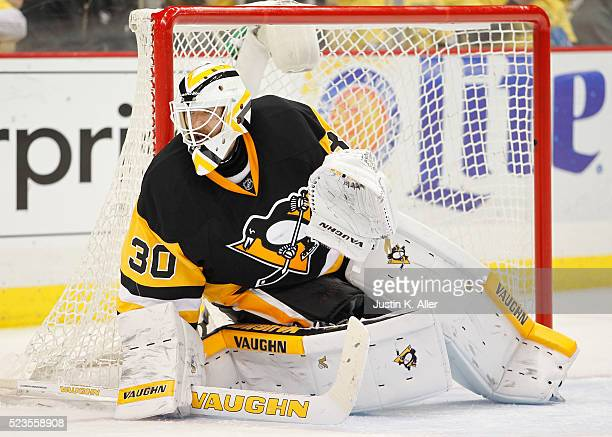 Matt Murray of the Pittsburgh Penguins protects the net in Game Five of the Eastern Conference First Round against the New York Rangers during the...