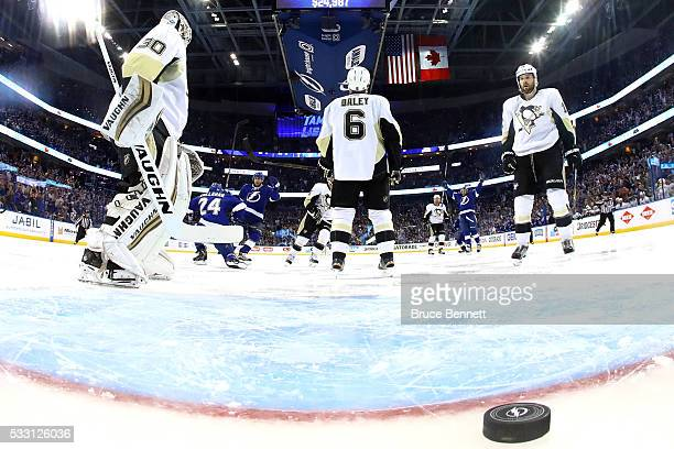 Matt Murray of the Pittsburgh Penguins reacts as Ryan Callahan of the Tampa Bay Lightning celebrates scoring a goal against of the Pittsburgh...