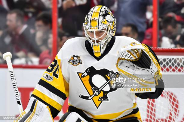 Matt Murray of the Pittsburgh Penguins remains focused against the Ottawa Senators in Game Six of the Eastern Conference Final during the 2017 NHL...