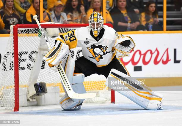 Matt Murray of the Pittsburgh Penguins skates against the Nashville Predators in Game Three of the 2017 NHL Stanley Cup Final at Bridgestone Arena on...