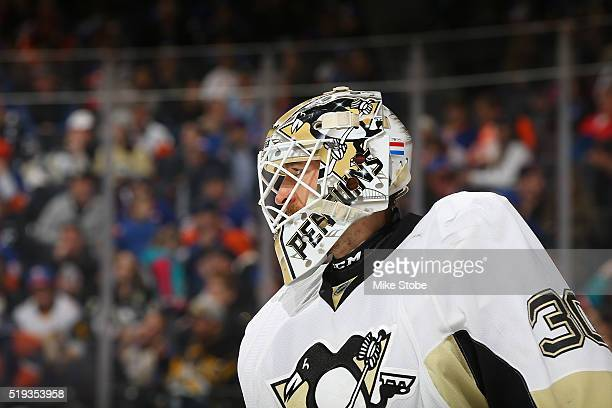Matt Murray of the Pittsburgh Penguins skates against the New York Islanders at the Barclays Center on April 2 2016 in Brooklyn borough of New York...