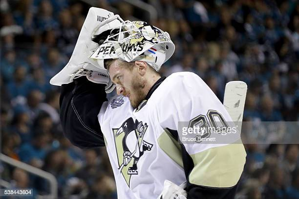 Matt Murray of the Pittsburgh Penguins skates on the ice in Game Four of the 2016 NHL Stanley Cup Final against the San Jose Sharks at SAP Center on...