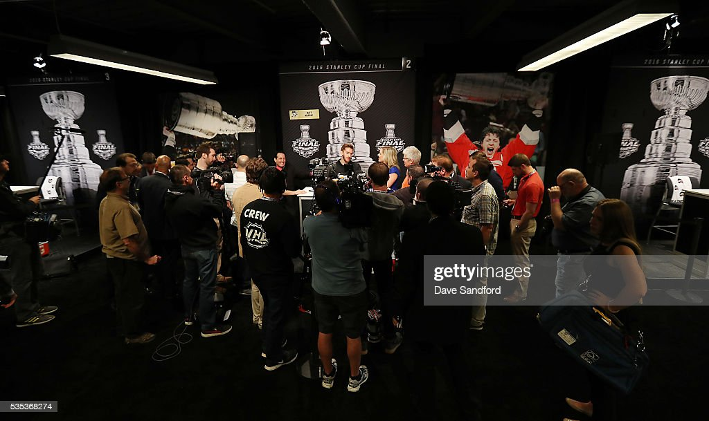 <a gi-track='captionPersonalityLinkClicked' href=/galleries/search?phrase=Matt+Murray+-+Ice+Hockey+Player&family=editorial&specificpeople=15609595 ng-click='$event.stopPropagation()'>Matt Murray</a> #30 of the Pittsburgh Penguins speaks during Media Day prior to the 2016 NHL Stanley Cup Final between the Pittsburgh Penguins and San Jose Sharks May 29, 2016 at Consol Energy Center in Pittsburgh, Pennsylvania, United States.
