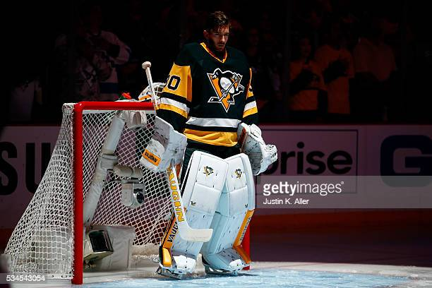 Matt Murray of the Pittsburgh Penguins stands on the ice prior to Game Seven of the Eastern Conference Final against the Tampa Bay Lightning during...