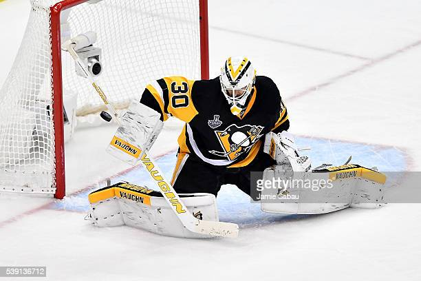 Matt Murray of the Pittsburgh Penguins stops a shot against the San Jose Sharks during the third period in Game Five of the 2016 NHL Stanley Cup...