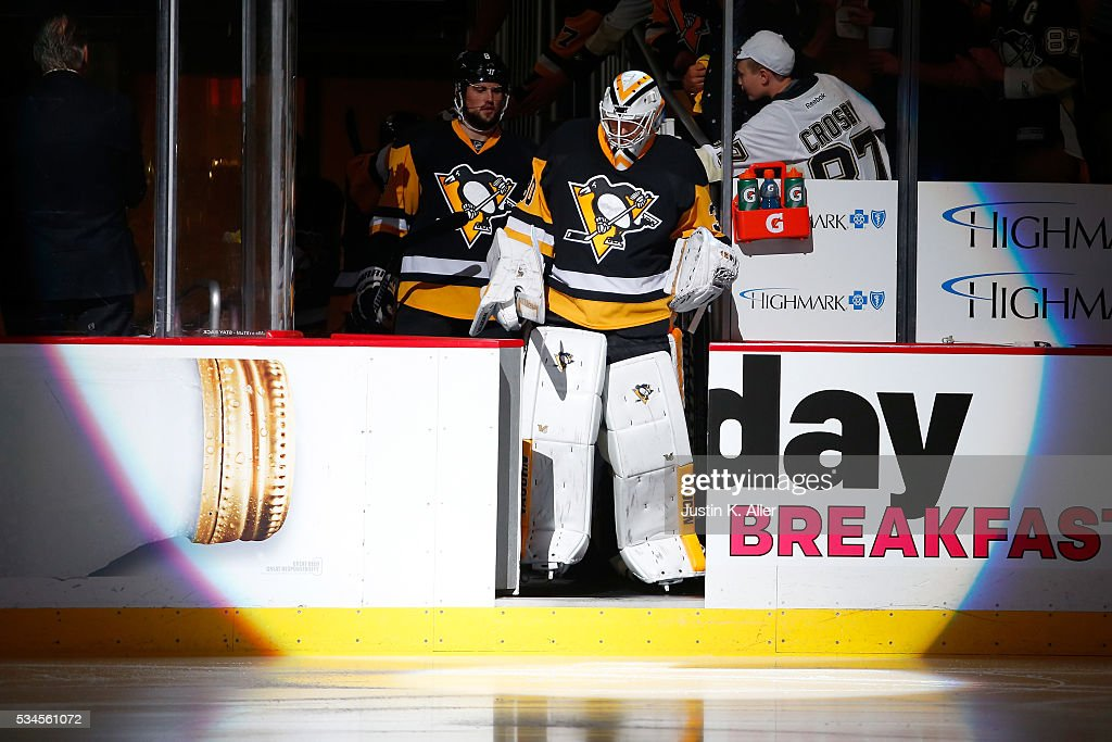 <a gi-track='captionPersonalityLinkClicked' href=/galleries/search?phrase=Matt+Murray+-+Ice+Hockey+Player&family=editorial&specificpeople=15609595 ng-click='$event.stopPropagation()'>Matt Murray</a> #30 of the Pittsburgh Penguins takes the ice prior to Game Seven of the Eastern Conference Final against the Tampa Bay Lightning during the 2016 NHL Stanley Cup Playoffs at Consol Energy Center on May 26, 2016 in Pittsburgh, Pennsylvania.